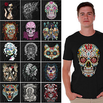 Sugar Skull Male (Sugar Skulls Dia De Los Muertos T-SHIRT Day of the Dead Halloween Shirts)