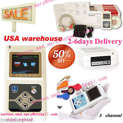 Usa Stock24 Hours 3 Channel Ecg Ecgekg Holter Monitor System Contec Tlc9803