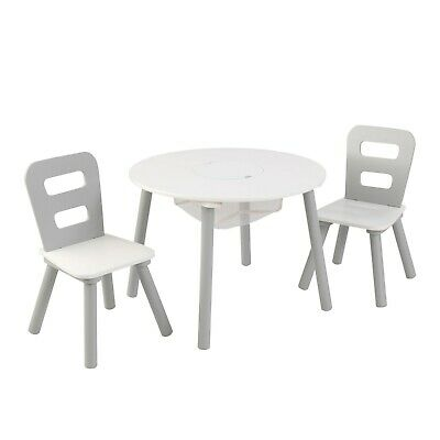 Kid's Round Storage Table & 2 Chair Set - Gray & White by KidKraft