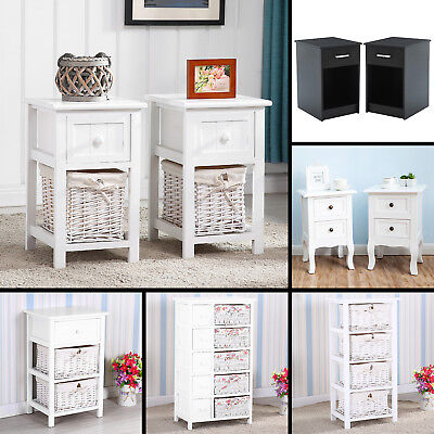 Nightstand End Table Bedside Table Wicker Wood Storage Drawer Bedroom Furniture ()