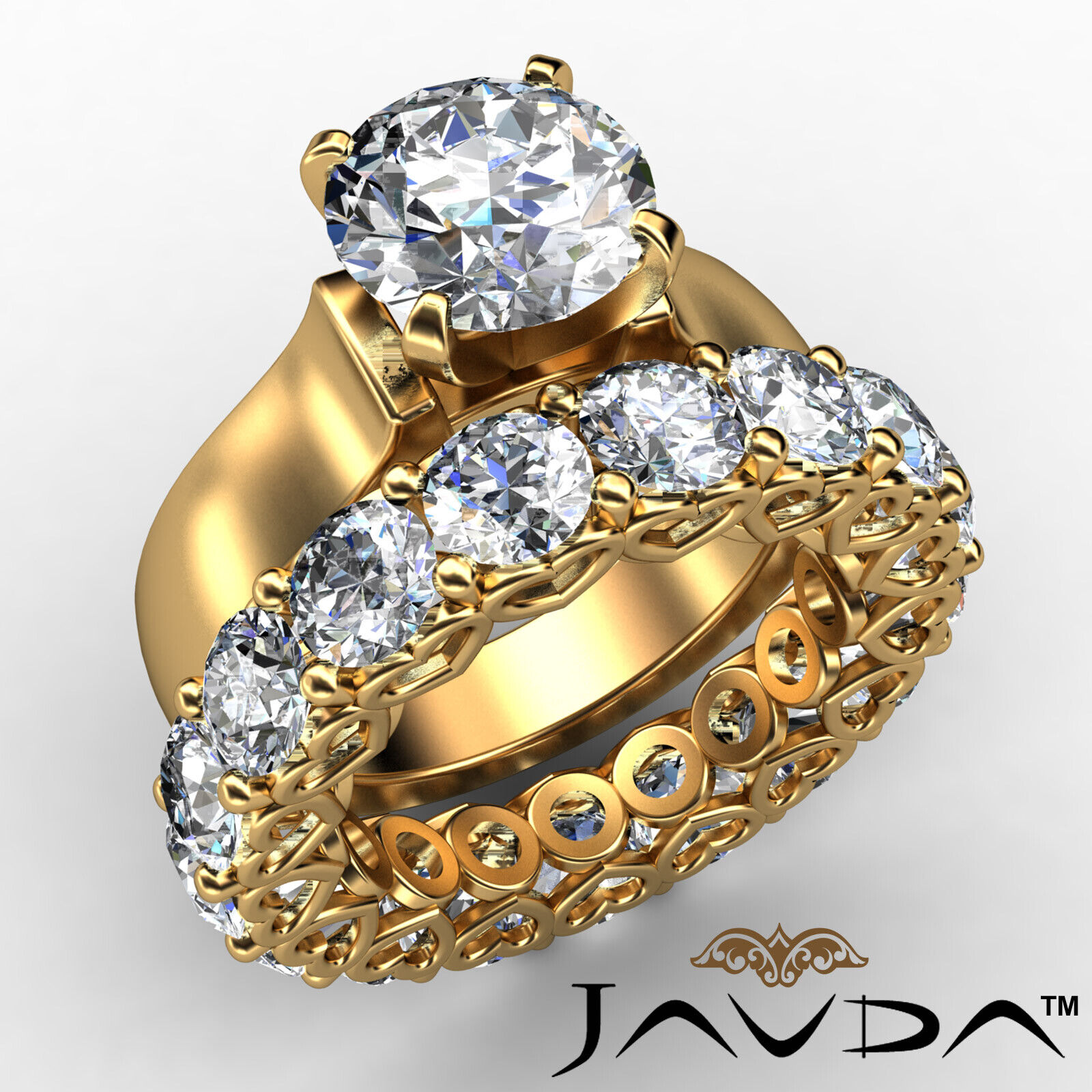 7.05Ct. Diamond Engagement Wedding Bridal Set Ring 14k Yellow Gold GIA Certified