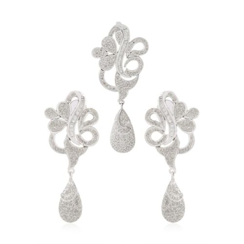 6.2 Ct. Baguette & Round Diamond Pendant Earrings SET 925 Silver Gold Jewelry