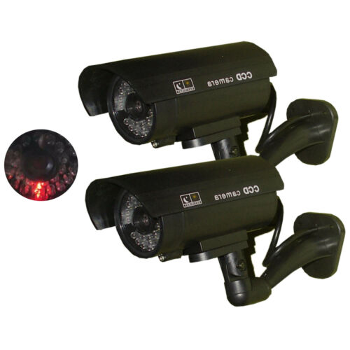 2 x Dummy Security Camera Fake Infrared LED Blink Flashing Light CCTV Waterproof