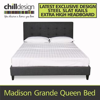 KING OR QUEEN UPHOLSTERED TUFTED FABRIC BEDHEAD & BED FRAME