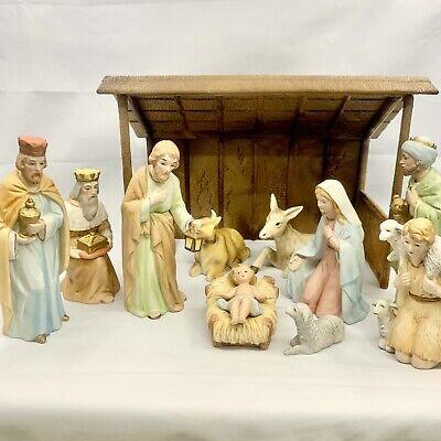 Vtg Home Interior Jesus Nativity 9 Piece Figurine Set w Homco Manger Stable 5603