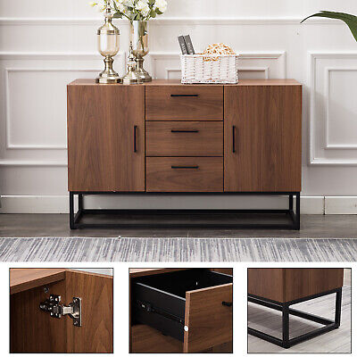 Modern Sideboard Storage Cabinet Buffet Table Kitchen Console w/3 Drawers 2 Door 2 Door Buffet