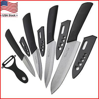 "Cutting edge Sharp Ceramic knife Set Kitchen Knives 3"" 4"" 5"" 6"" + Peeler Knife Cutlery"