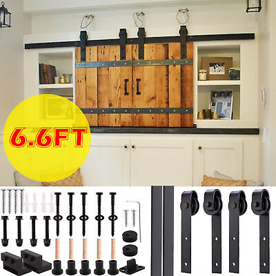 5/6/6.6FT Rustic Sliding Barn Wood Double Door Closet Cabinet Hardware Track Kit