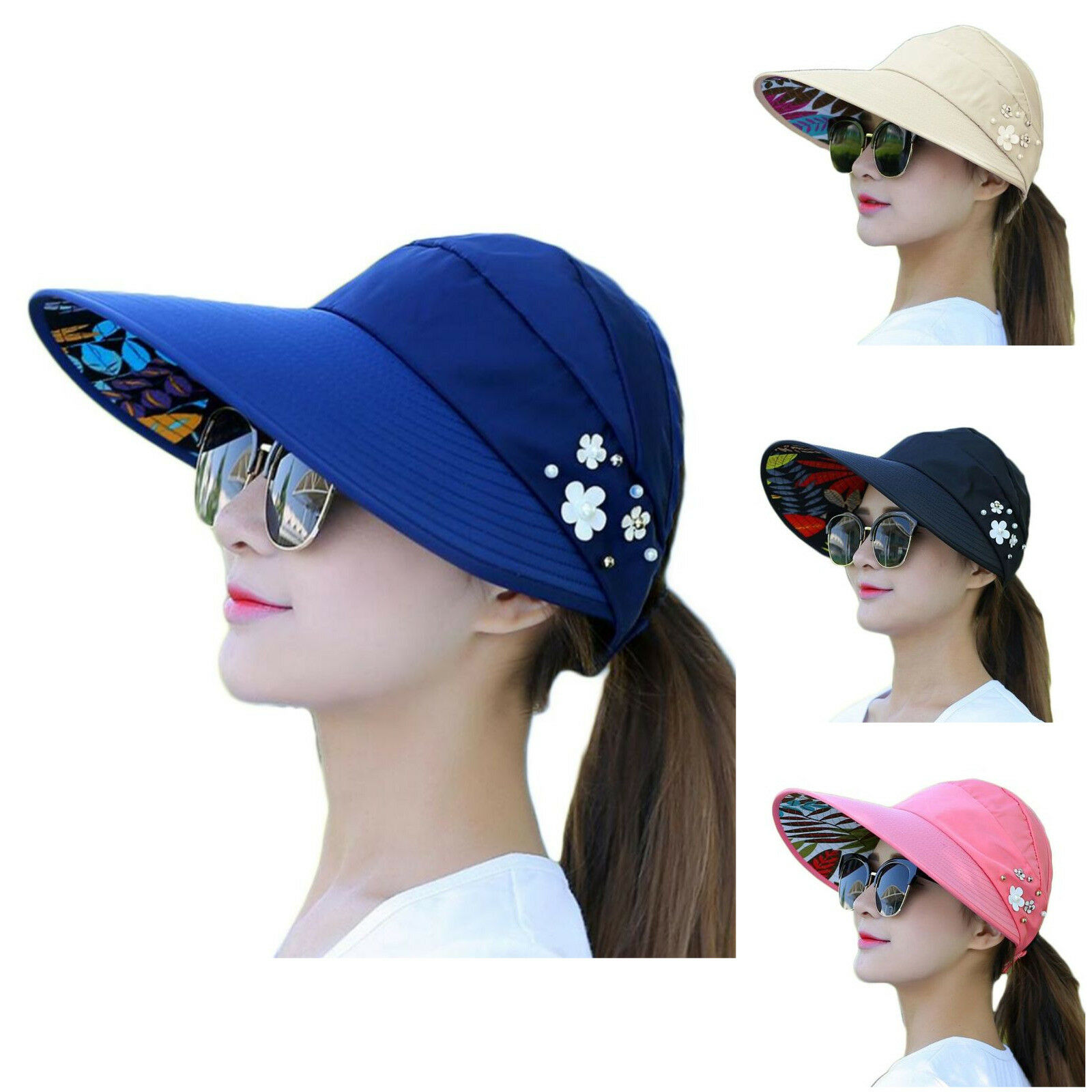 697750b4d49d Details about Rose Red Womens Sun Visor Hats Beach Golf Wide Brim Hats  Ladies UV Protection