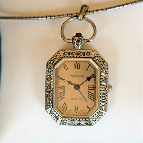 Stunning Rumours Octagonal Pendant Watch with Omega Chain Necklace New Battery