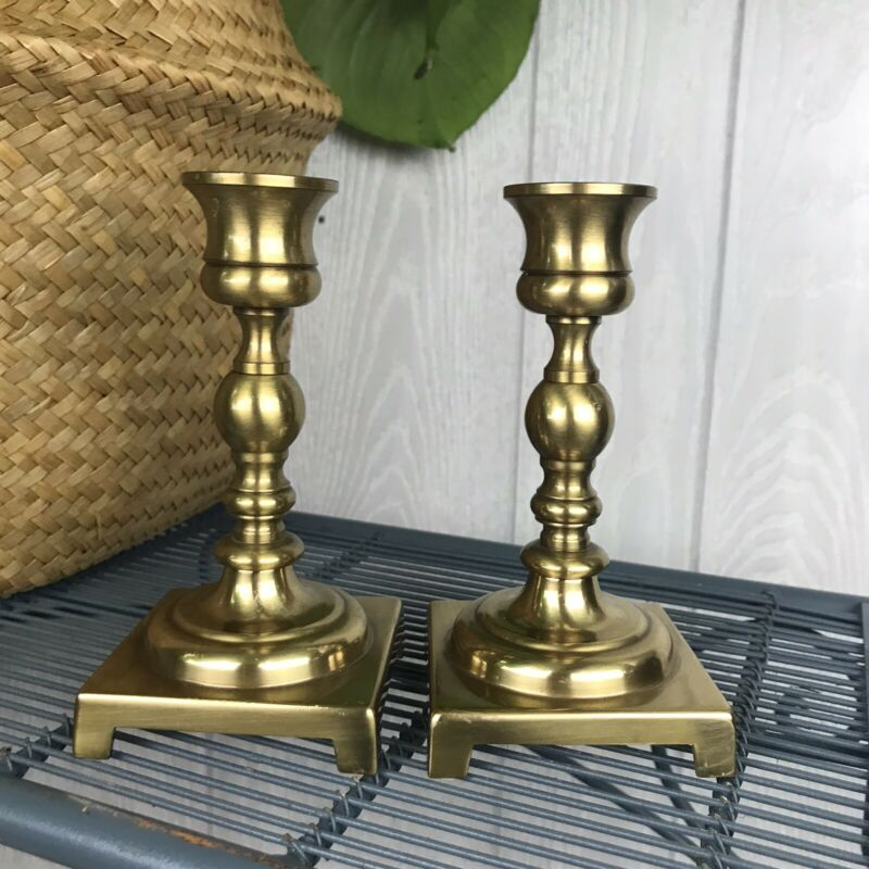 Vintage Pair Of Brass Candlestick Holders Square Base Mid Century Modern