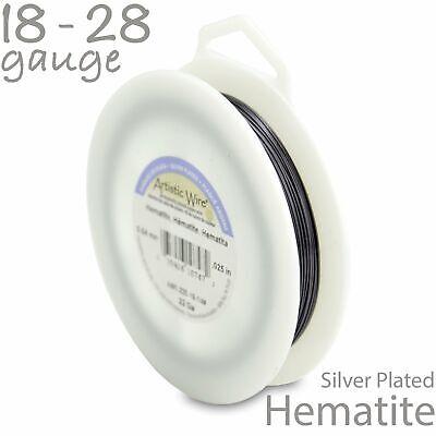 Hematite Artistic Wire 1/4LB Spool - Non Tarnish Silver Plated Black Craft Wire Non Tarnish Silver Artistic Wire