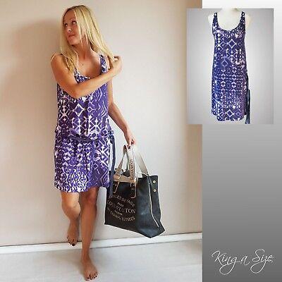 BENETTON Jersey Minikleid Kleid Tunika Viskose Stretch Gr.L Flower lila * Flower Jersey Kleid