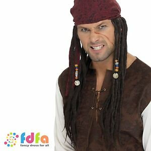 PIRATE DREADLOCKS PLAITS JACK SPARROW WIG CARIBBEAN - mens fancy dress accessory