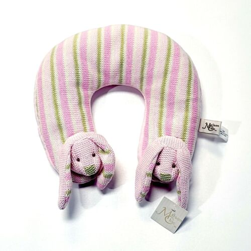 Maison Chic Knit Pink & Green Bunny Travel Neck Pillow Infant Baby Head Support