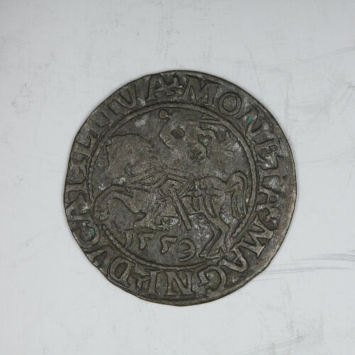 1559 Polish Lithuania Silver 1/2 Groschen Medieval Knight on Horseback