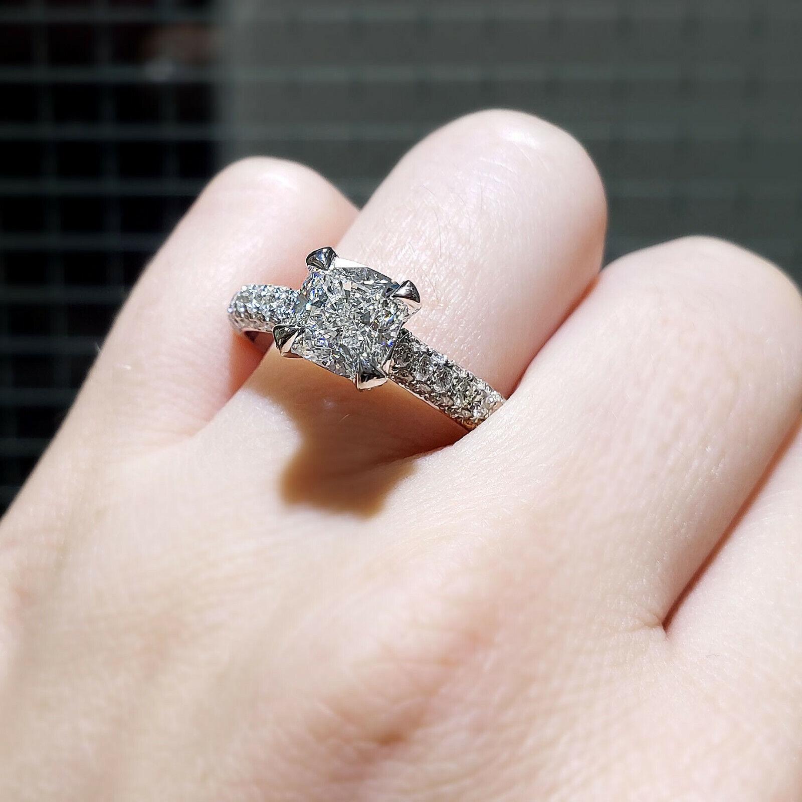 3.10 Ct Cushion Cut Diamond Engagement Ring Round Cut Micro Pave H,VS1 GIA 14K 1