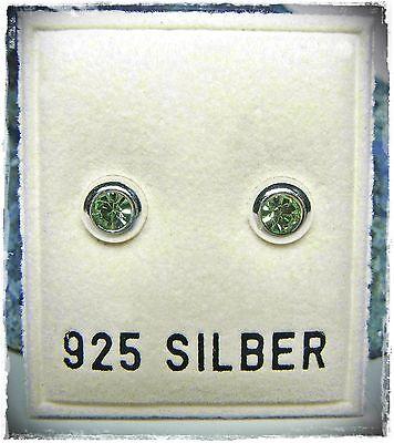 NEU 925 Silber OHRSTECKER mit SWAROVSKI STEINE in peridot/grün OHRRINGE