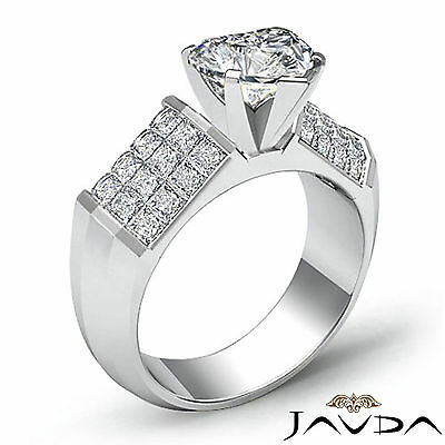 4 Prong Invisible Set Heart Cut Diamond Engagement Ring GIA I VS2 Clarity 2.2Ct 1
