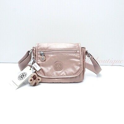 NWT Kipling AC8281 Sabian Crossbody Mini Shoulder Bag Nylon Rose Gold Metallic