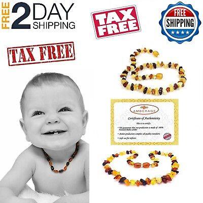 Amber Baby Necklace Unisex Teeth Pain Reduce Natural Anti Flammatory Multi Color Amber Jewelry Multi Color Necklace