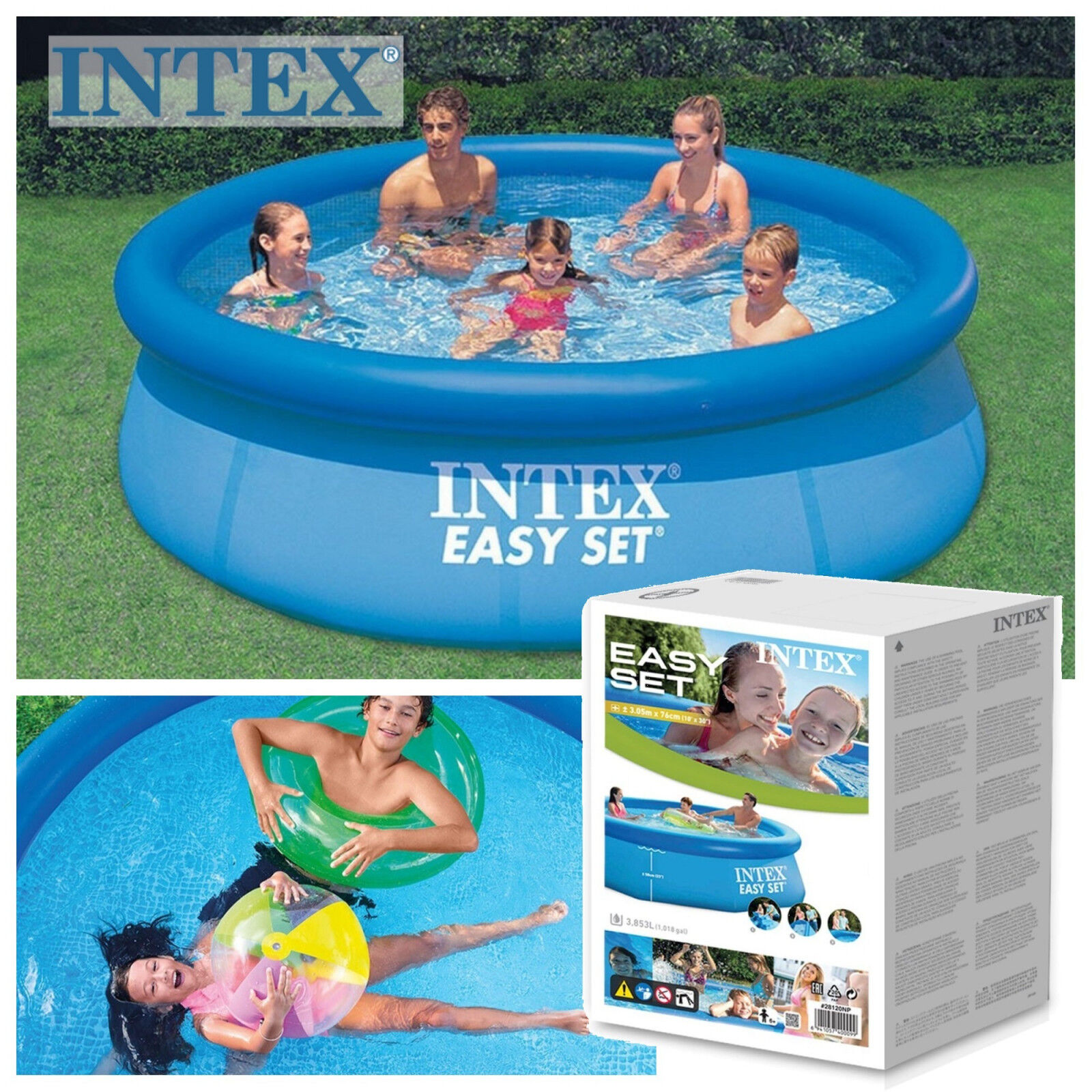Details About Paddling Swimming Pool Intex Easy Set Up Garden Outdoor 10 Foot X 30 Inch