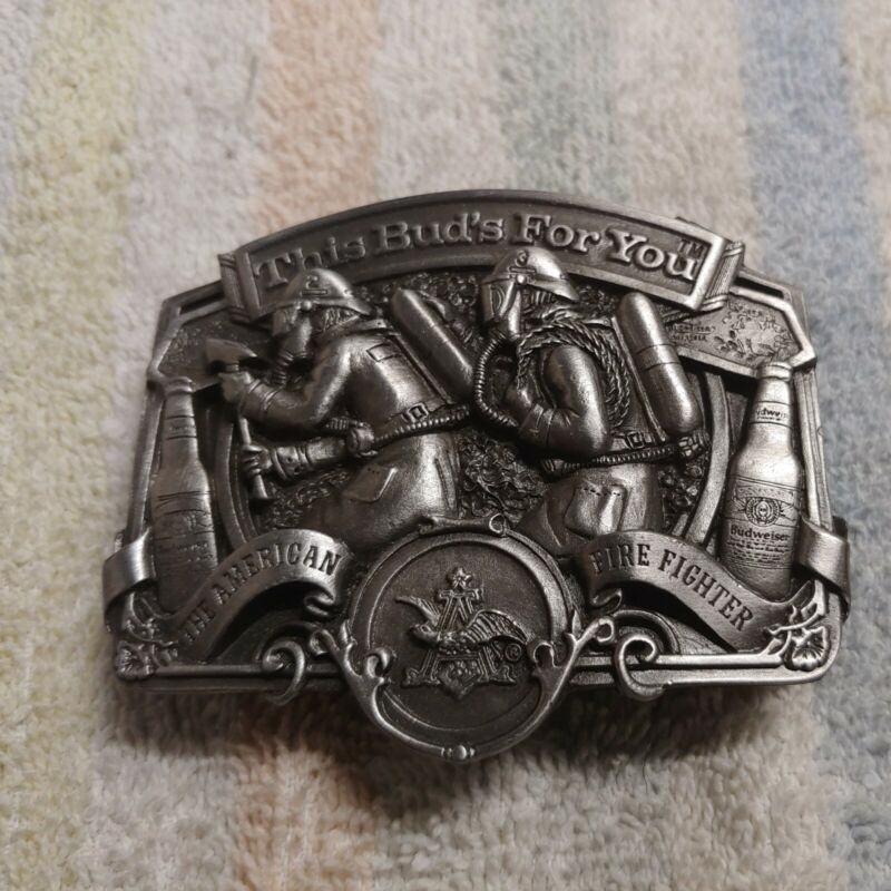 US made Belt Buckle American Fire Fighter 1987 This Bud