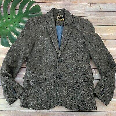 Superdry Limited Mens Blazer Jacket Size L Brown Black Herringbone Wool Blend