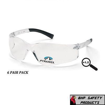 SAFETY GLASSES READER CLEAR BIFOCAL +1.50 LENS PYRAMEX ZTEK S2510R15 (6 PAIR)