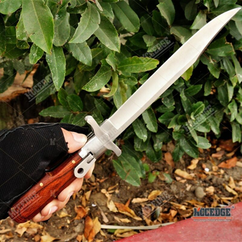 "12"" German Style Folding Hunting Military Multifunction Knife BUTTON LOCK Wooden"