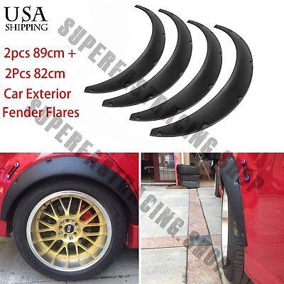 - 4 pcs Black Universal Exterior Fender Flares Flexible Car Body Kit Wheel Arches