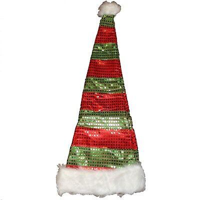 Buddy Elf Hat (29inch tall long Santa Elf Hat striped red green buddy fur)