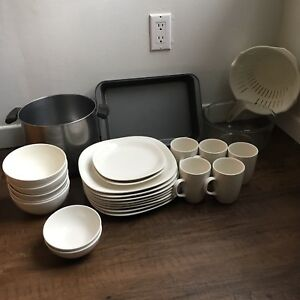 Plate Set with Bonus Cookware - MOVING SALE - $25 OBO