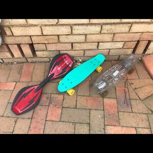 Ripstik and Mambo skateboards red, green and clear