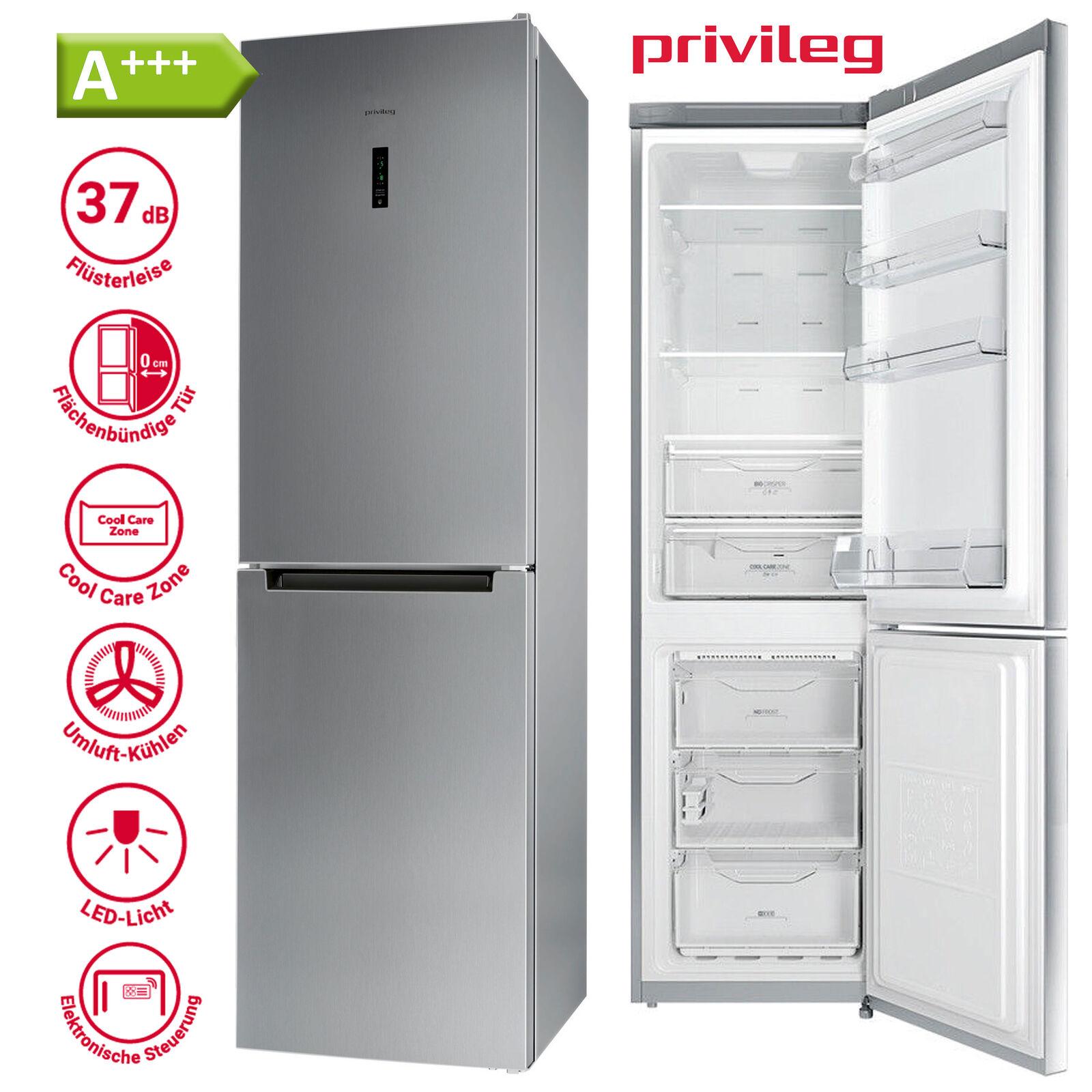 Kühl Gefrierkombination A+++ Kühlschrank freistehend Silber NoFrost 201 cm Stand