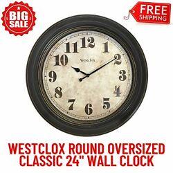24-Inch Classic Vintage Style Round Oversized Wall Clock, Quartz Analog Movement
