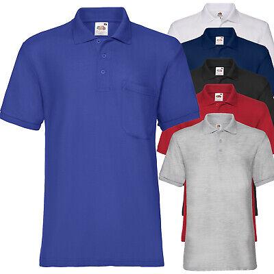 Polo da Lavoro Uomo T Shirt Con Taschino Misto Cotone FRUIT OF THE LOOM 65/35