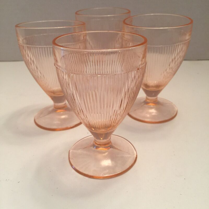 Homespun Wild Rose Pink Juice Set 4 Footed Tumblers Jeannette