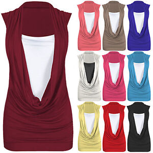 LADIES-WOMEN-COWL-SCOOP-NECK-CONTRAST-INSERT-VEST-TOP-TSHIRT-LONG-PLUS-SIZE-TOPS