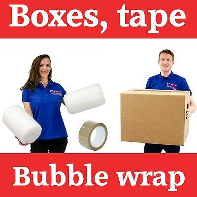 5 XXL STRONG Cardboard Packing Moving Boxes, 1 Strong Tape, 10 Meter Bubble Wrap