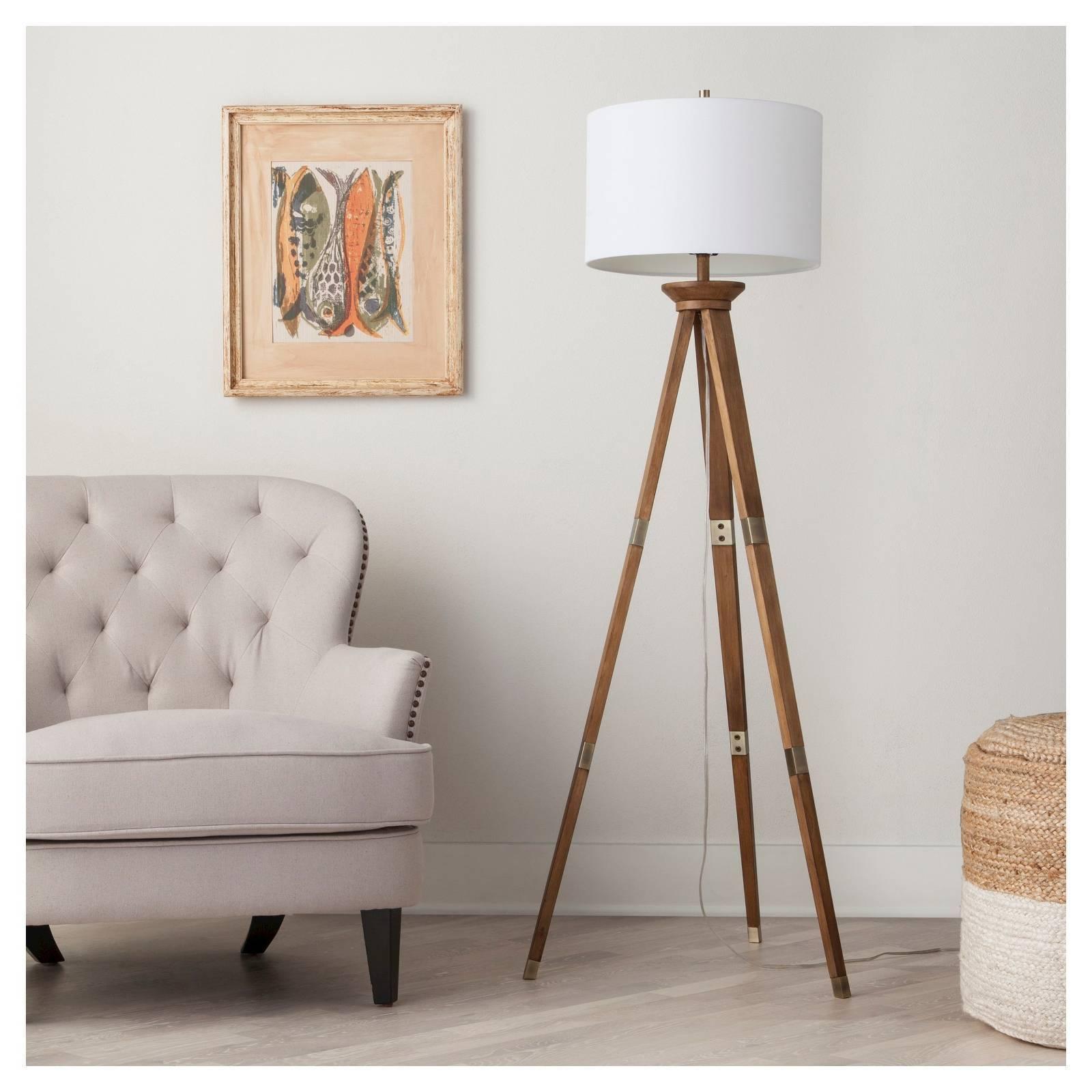Tripod floor lamp ebay oak wood tripod floor lamp threshold mozeypictures Images