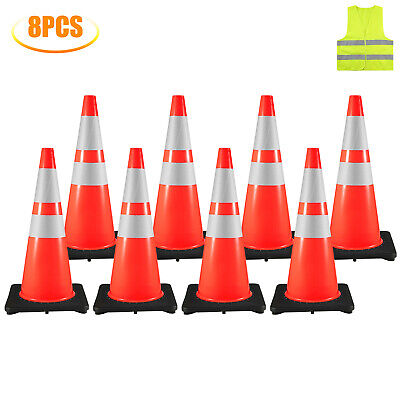 28 Inch Safety Traffic Cones Fluorescent Orange Reflective Collar 8pcsset