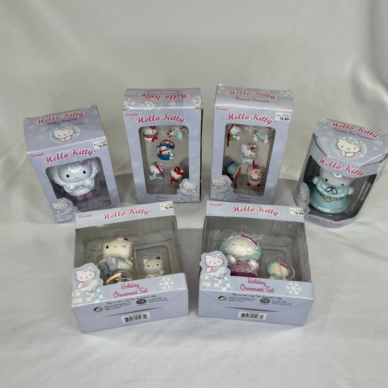 BIG LOT - Hello Kitty Christmas HOLIDAY Ornament Set New In Box - SIX BOXES