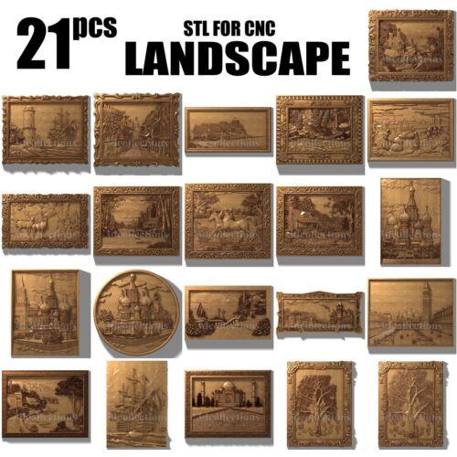3d stl model cnc router artcam aspire 21 landscape collection panno basrelief