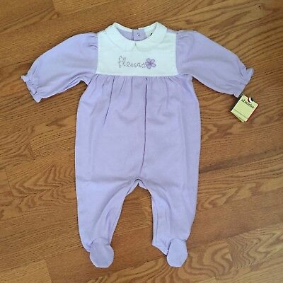 ABSORBA girls 9m cotton FLEURS Purple LILAC footed L/S romper NWT