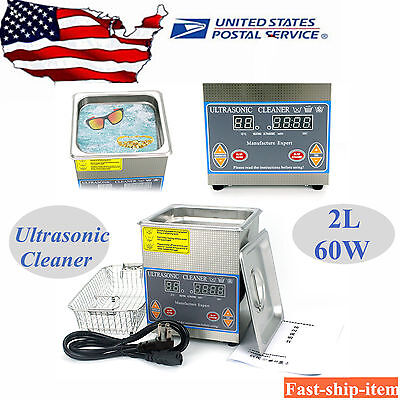 2l Stainless Digital Heated Ultrasonic Cleaner Cleaning Heater Wtimerbasket Us