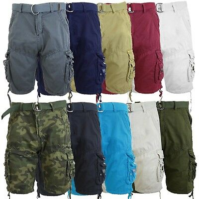 (Mens Cotton Belted Cargo Shorts Vintage Distressed Lounge Hiking Sizes 30-48 NWT)
