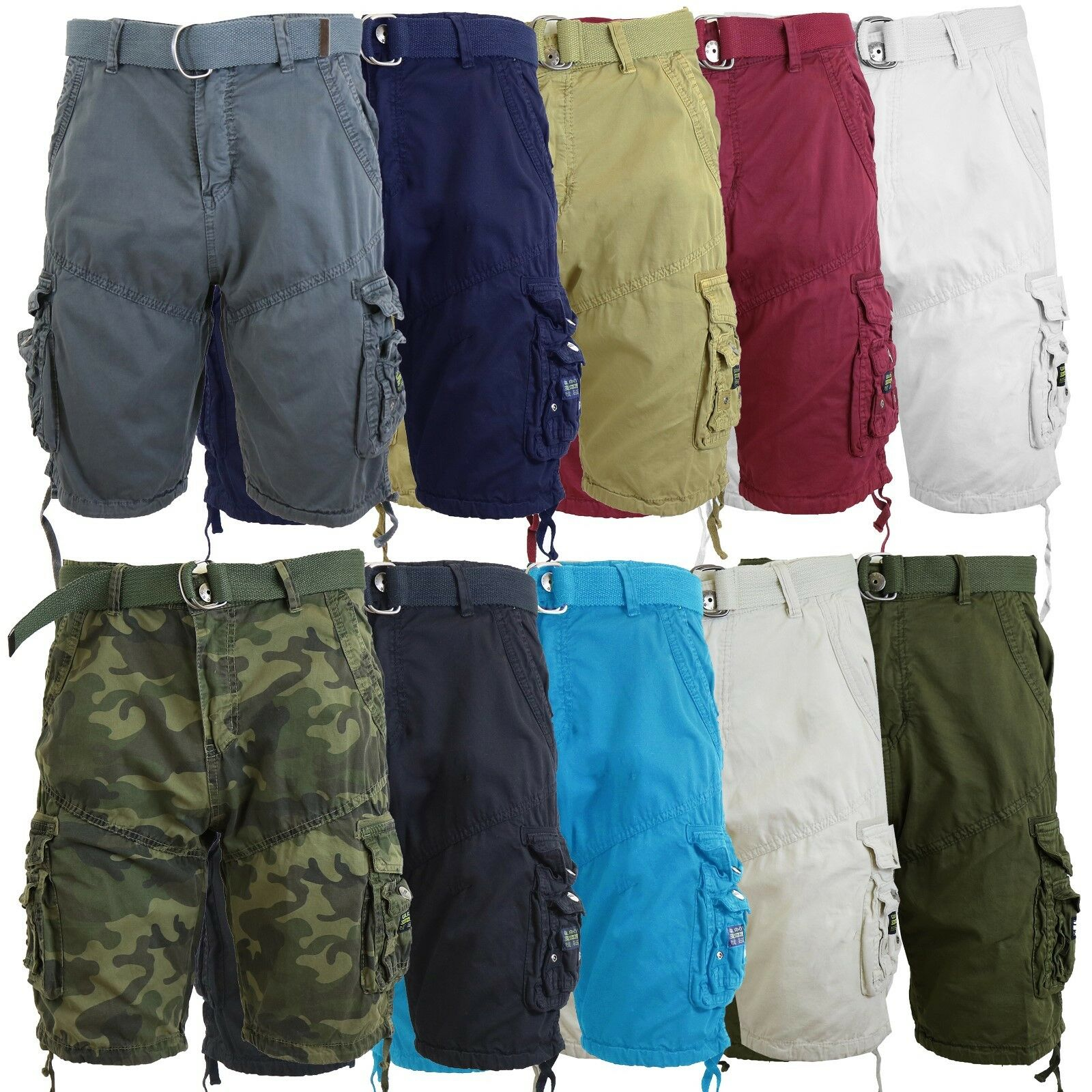 Mens Cotton Belted Cargo Shorts Vintage Distressed Lounge Hiking Sizes 30-48 NWT Clothing, Shoes & Accessories