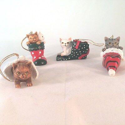 "Cat Playful Kitty Christmas Ornament Shelf Sitter Lot of 4 ROC 2.25"""