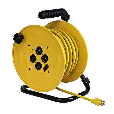 Professional Wind-Up Cord Reel Circuit Breaker 80 Ft Cord Alert Stamping 7080M